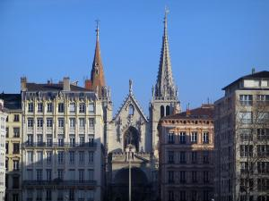 Lyon - Facade of the Saint-Nizier church and the buildings of the peninsula