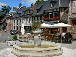 Lyons-la-Forêt - Flower-bedecked fountain, café terrace and facades of half-timbered houses of the village