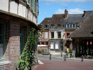 Lyons-la-Forêt - Covered market hall and houses in the village