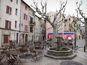 Manosque - Marcel Pagnol square: fountain, café terrace, plane trees and houses of the old town