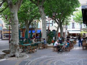 Manosque - Square of the town hall: café terraces, plane trees and houses of the old town