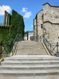 Le Mans - Staircase, and a former palace of the counts of Maine (Plantagenet royal palace) home to the town hall