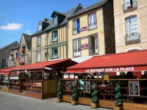 Le Mans - Old Mans - Plantagenet town: facades of houses and restaurant terraces on the Place Saint-Pierre square