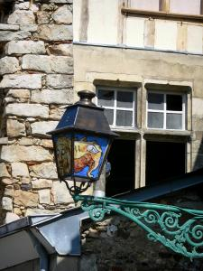 Le Mans - Old Mans - Plantagenet town: facades of houses and decorated lantern