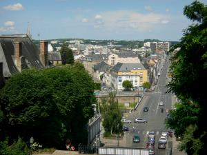 Le Mans - View of the Yssoir bridge, the Rue Voltaire street and the roofs of the town