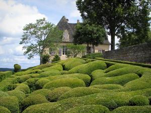 Marqueyssac gardens - Hand-clipped box trees, trees, castle and clouds in the sky, in the Dordogne valley, in Périgord