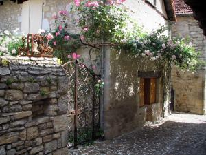 Martel - House with climbing roses, in the Quercy