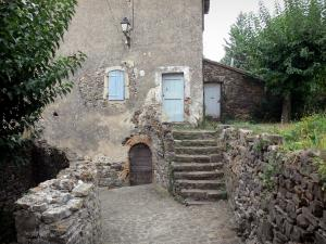 Le Mas Soubeyran - Hamlet of Mas Soubeyran, in the town of Mialet, in the Cévennes: paved alleyway, house and trees