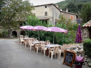 Le Mas Soubeyran - Hamlet of Mas Soubeyran, in the town of Mialet, in the Cévennes: cafe terrace, houses and trees