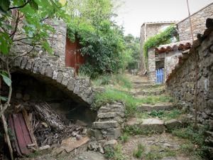 Le Mas Soubeyran - Hamlet of Mas Soubeyran, in the town of Mialet, in the Cévennes: stairway lined with houses and vegetation