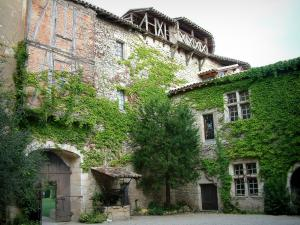 Mauriac castle - Inner courtyard of the castle and its facade covered with ivy