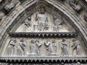 Meaux - Saint-Étienne cathedral of Gothic style: carved tympanum of the central portal depicting Last Judgement
