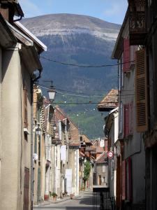 Mens - Street of the village lined with houses, Trièves mountain overhanging the place