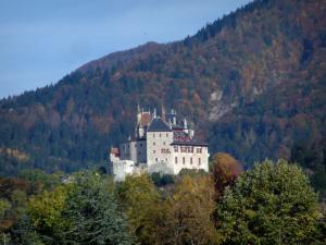 Menthon-Saint-Bernard castle - Castle dominating Lake Annecy with trees and forest with autumn colours