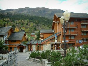 Méribel - Shrubs, lamppost, wooden residences - chalets of the ski resort (winter sports), trees in autumn and spruce forest
