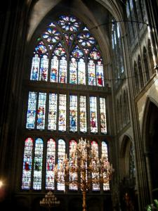 Metz - Inside of the Saint-Etienne cathedral: stained glass windows