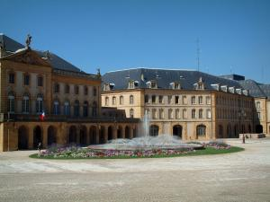 Metz - Comédie square with fountain surrounded by flowers, Opera-Theatre and prefecture