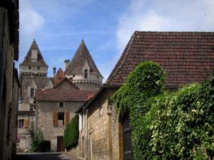 Milandes castle - Houses and castle in background, in the Dordogne valley, in Périgord