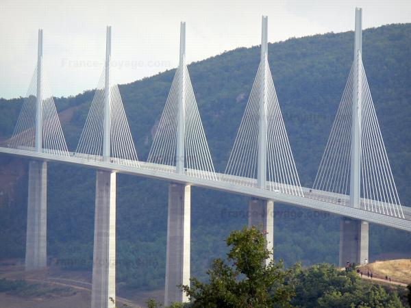 Millau viaduct - Cable-stayed motorway bridge; in the Grands Causses Regional Nature Park