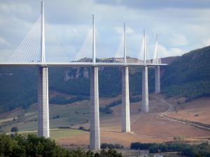 Millau viaduct - View of the cable-stayed motorway bridge and its surrounding landscape, in the Grands Causses Regional Nature Park