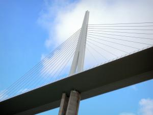 Millau viaduct - Pile, deck, pylon and shrouds of the motorway bridge