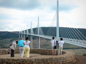 Millau viaduct - Belvedere overlooking the seven towers of cable-stayed motorway bridge