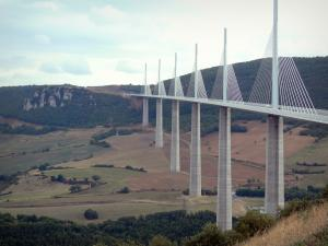 Millau viaduct - View of the cable-stayed motorway bridge and its surrounding landscape