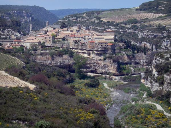 Minerve - Village (houses, church) standing on a rocky mountain spur, river (la Cesse) below, rock faces, vineyards, shrubs, in the Upper Languedoc Regional Nature Park