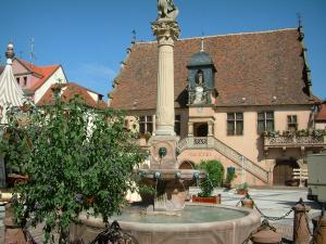 Molsheim - Square with a fountain, plants and the Metzig (Renaissance building)