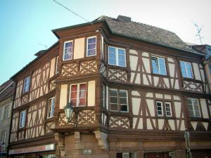 Molsheim - Ancient timber-framed house and an oriel window