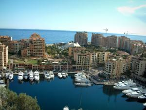 Monaco and Monte Carlo - Port with yachts and buildings, sea in background