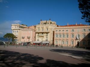 Monaco and Monte Carlo - Square of the Palace decorated with beautiful buildings