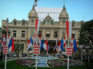 Monaco and Monte Carlo - Casino of Monte Carlo with flags and flowers