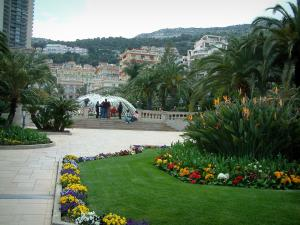 Monaco and Monte Carlo - Park of Monte Carlo with exotic plants, flowers and fountain in background