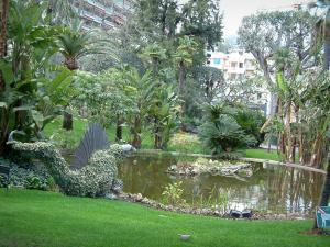 Monaco and Monte Carlo - Park of Monte Carlo with lake, statue and exotic plants