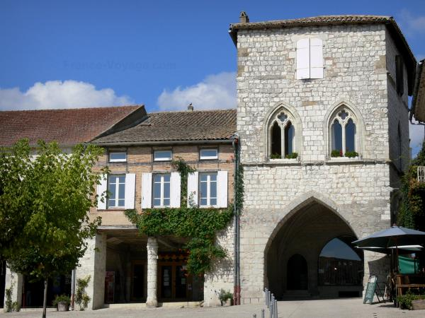 Monflanquin - Medieval bastide town: home of the Prince Noir (Black Prince) with its gemel windows, and Place de la Halle square