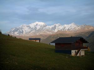 Mont-Blanc - Alpine pasture (high meadow), chalets and the Mont Blanc mountain range