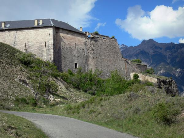 Mont-Dauphin - Fortifications of the citadel (fortified town built by Vauban), mountain in background