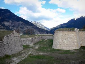 Mont-Dauphin - Fortifications of the citadel (fortified town built by Vauban) with view of the mountains