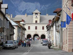 Mont-Dauphin - Citadel (fortified town built by Vauban): street lined with houses and Horloge pavilion