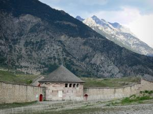 Mont-Dauphin - Citadel (fortified town built by Vauban): watch tower; mountains
