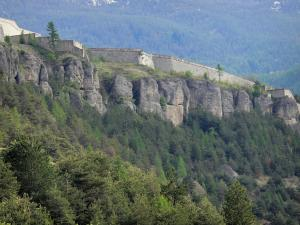 Mont-Dauphin - Ramparts (fortifications) of the citadel (fortified town built by Vauban) on a rocky cape and forest