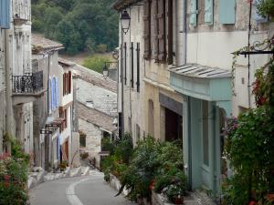 Montaigu-de-Quercy - Sloping street lined with houses