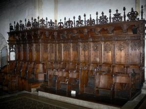 Montbenoît abbey - Wooden stalls of the abbey church