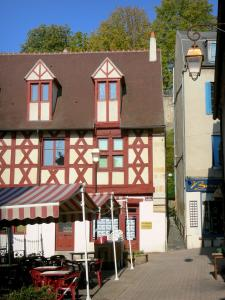 Montluçon - Café terrace and half-timbered house in the Rue Grande street