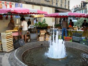 Montluçon - Fountain of the Place Notre-Dame square and market stalls
