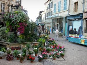 Montluçon - Flowers display (market), floral decoration and houses of the old town