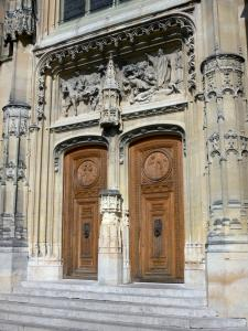 Montmorency - Carved portal of the Saint-Martin collegiate church of Flamboyant Gothic style