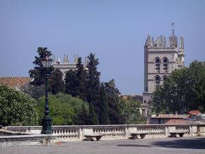Montpellier - Towers of the Saint-Pierre cathedral (building of Southern Gothic style), trees and Peyrou promenade with a lamppost and benches