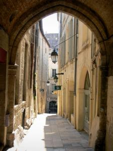 Montpellier - Narrow street of the old town lined with houses